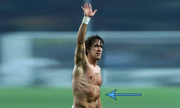 famous soccer player with flared ribs