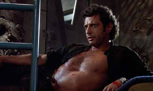 jeff goldblum shows off sunken chest pose